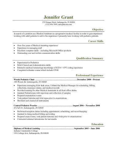 resume examples templates best sample medical assistant example