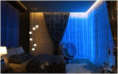 Bedroom Decoration Lights Blue Space Bedroom Interior Design Ideas