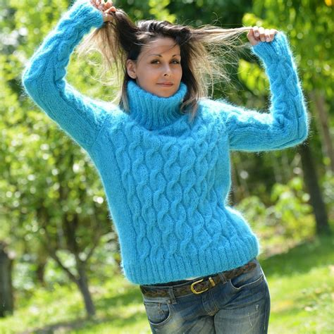 light blue turtleneck sweater light blue cable knit mohair turtleneck sweater by
