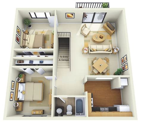 Two Bedroom Floor Plan by 2 Bedroom Apartment House Plans