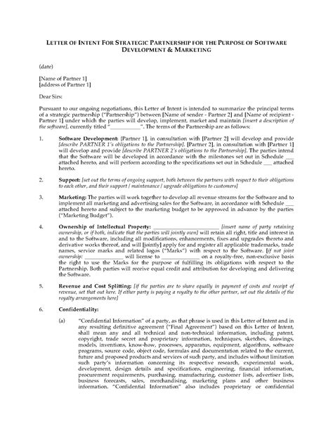 Letter Of Intent For A Business Partnership Doc 8501099 Letter Of Intent Business Partnership Bizdoska