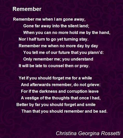 remember poem by georgina rossetti poem