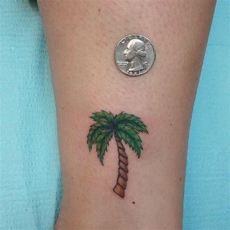 palm tree ankle tattoo palm tree color ink on ankle great ideas