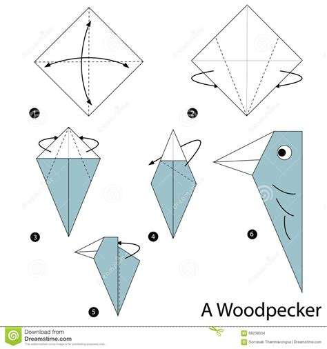 Steps To Make A Origami - step by step how to make origami a woodpecker