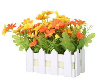 Pot Bunga Pagar Kayu 4 Pis niceeshop buatan tanaman krisan dalam pot bunga bunga