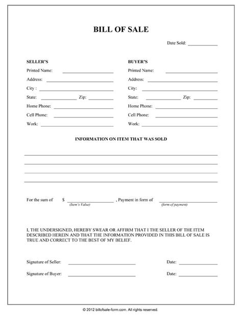 General Bill Of Sale Form Bill Of Sale Form Nc Template