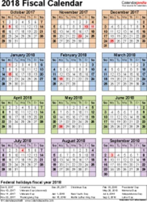 Calendar 2018 Quarters Fiscal Calendars 2018 As Free Printable Word Templates