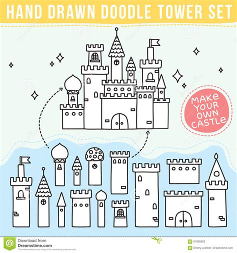 doodle make your own doodle tower set stock vector image 61836853
