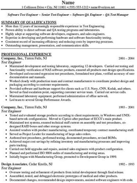 software test engineer resume exle
