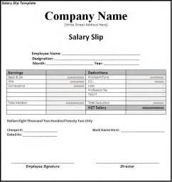 simple salary slip template sample with company name and