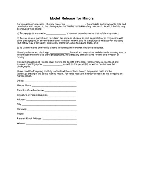 Generic Photography Model Release Form Minor Photo Release Form For Minors Template