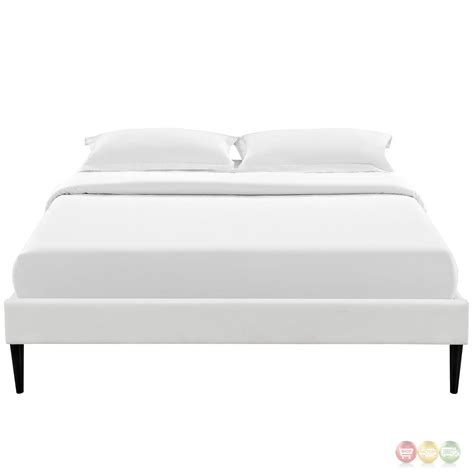 white platform bed frame sherry upholstered vinyl leather full platform bed frame