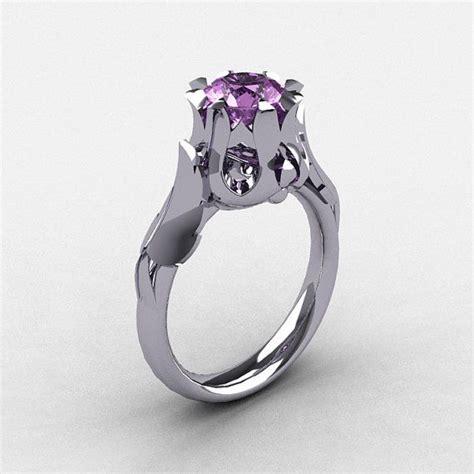 amethyst gemstones 10kt black gold wedding trio ring sets