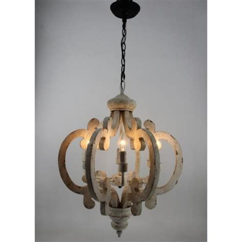 6 Light Wooden Chandelier Antique White Chandelier White Wooden Chandelier