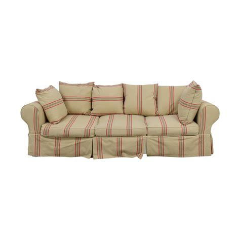 41 Off Beige With Red Stripe Three Cushion Slipcover Three Cushion Sofa Slipcover