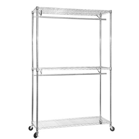 chrome clothes rack with wheels w1200mm 3 shelves 2