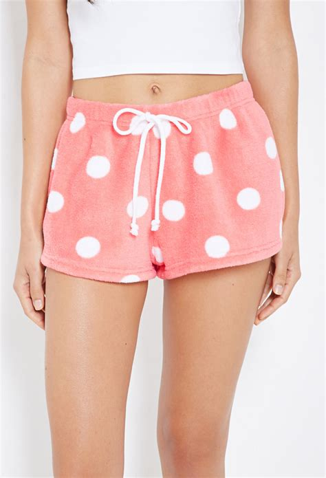 Pink Polkadots Shortpants Pajamas lyst forever 21 plush polka dot pj shorts you ve been added to the waitlist in pink