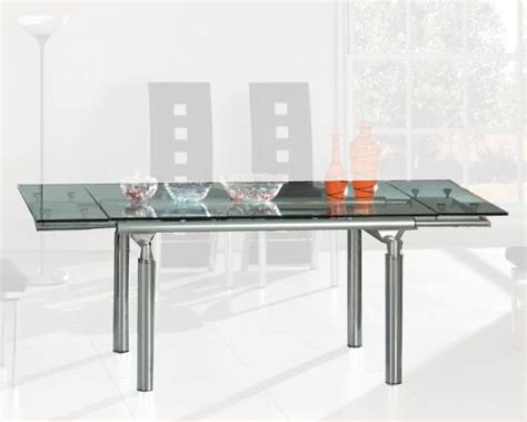 Glass Dining Table With Extension Extension Dining Table W Glass Top Ol Dt06