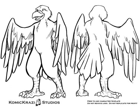predator bird free character template by temperance on