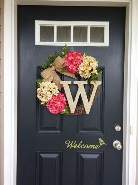 home door decoration summer wreath monogram wreath hydrangea wreath front