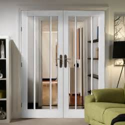Interior French Door Handles Worcester White Primed Door Pair With Clear Safety Glass