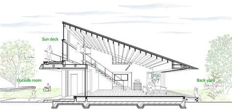 pf section casa de largo techo a cuatro aguas naoi architecture