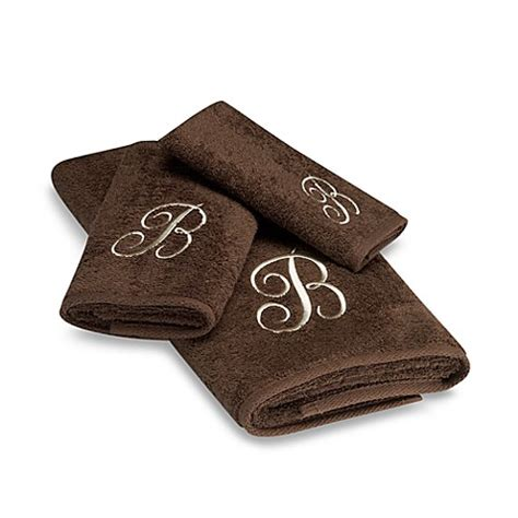 monogrammed bath towels avanti premier ivory script monogram bath towel collection in mocha bed bath beyond
