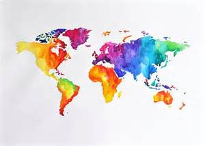 Colorful World Map by Watercolors Originals And The World On Pinterest