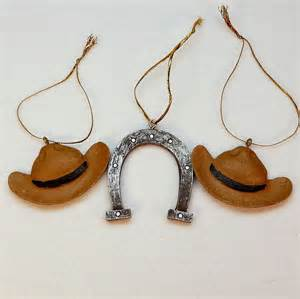 3 western cowboy ornaments christmas hats horseshoe