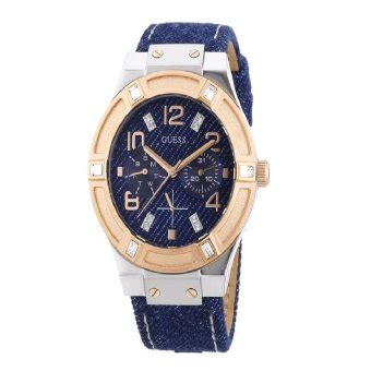 Cd Wanita Sporty guess jam tangan wanita blue leather w0289l1