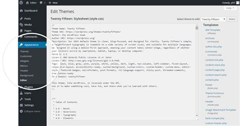 wordpress theme editor blank page enabling the wordpress theme and plugin editor 1 1 community