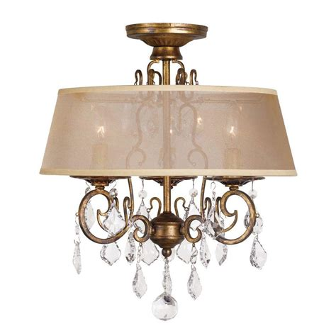 Chandelier Mount World Imports 15 In 3 Light Antique Gold Flushmount Chandelier Wi197390 The Home Depot