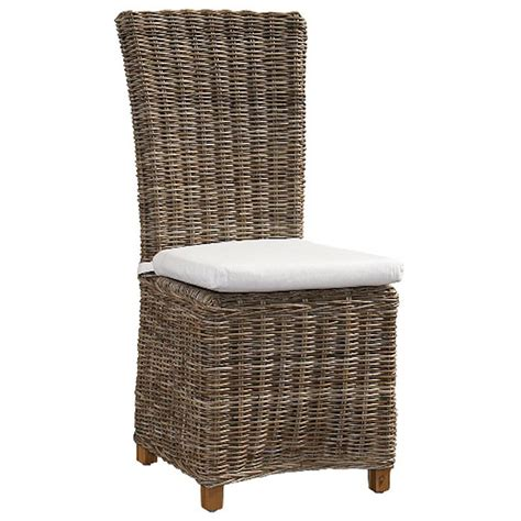 Grey Wicker Dining Chairs Nico Dining Chair White Cushion Gray Kubu Rattan Wicker Dcg Stores