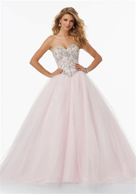 sweetheart beaded prom dress tulle prom gown with beaded sweetheart bodice style