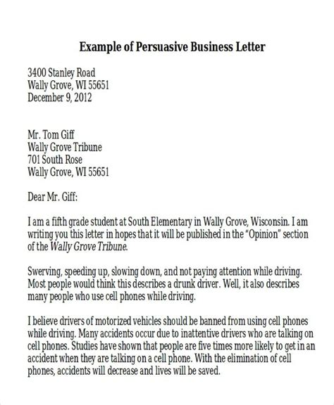 Persuasive Letter Introduction Exle Persuasive Business Letter Exle The Best Letter Sle