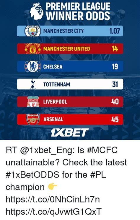 epl winner odds premier league winner odds 107 14 19 31 40 45 manchester