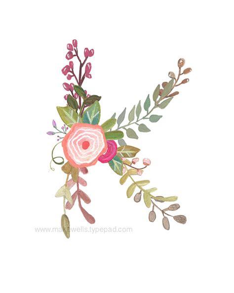 k floral letter print