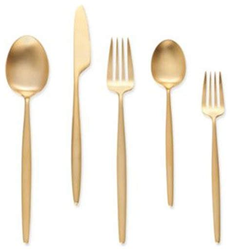 steel place setting set of 5 modern flatware and quot night quot 5 piece place setting gold modern flatware