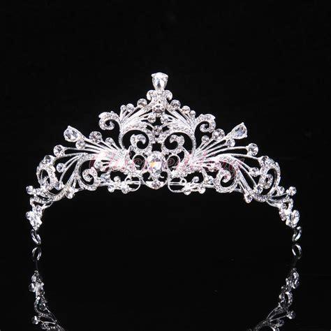 Wedding Crown bridal princess austrian tiara wedding crown veil hair accessory silver ebay