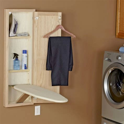 wall mounted ironing board cabinet in wall ironing board and cabinet unfinished oak in