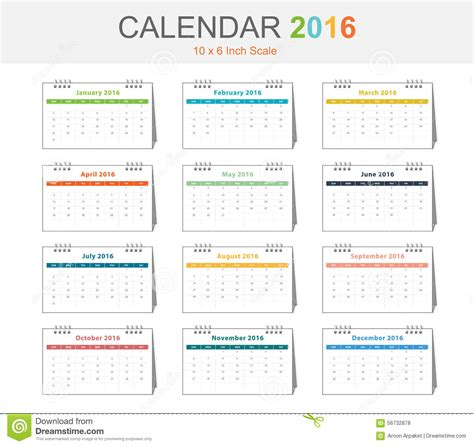 Credit Card Size Calendar Template Calendar 2016 Template Vector Eps10 Size 10x6 Inch Scale Stock Illustration Image 56732878