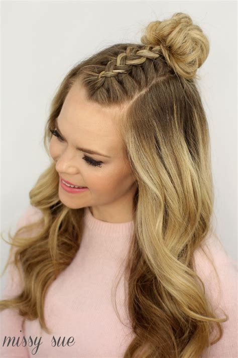 top of head braided back with sides and back shaved mohawk braid top knot