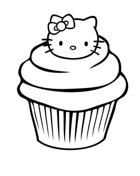 hello kitty birthday cake coloring page cupcake hello kitty clipart clipart best