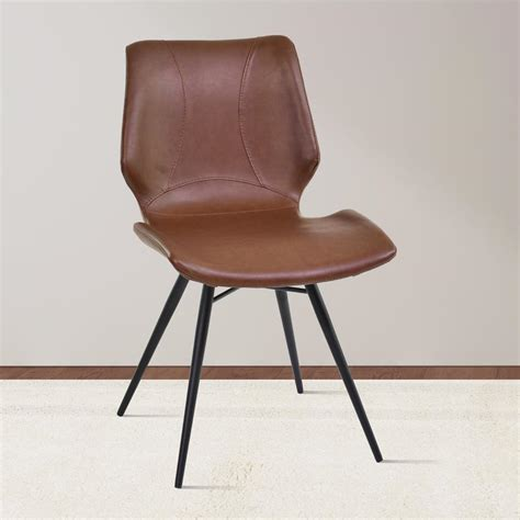 black leather and metal dining chair armen living zurich 32 in vintage coffee faux leather and
