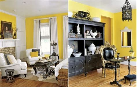 Yellow And Black Living Room Decorating Ideas by Living Room Yellow Walls Simple Home Decoration
