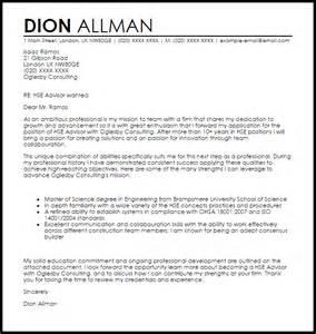 Hse Advisor Cover Letter hse advisor cover letter sle livecareer