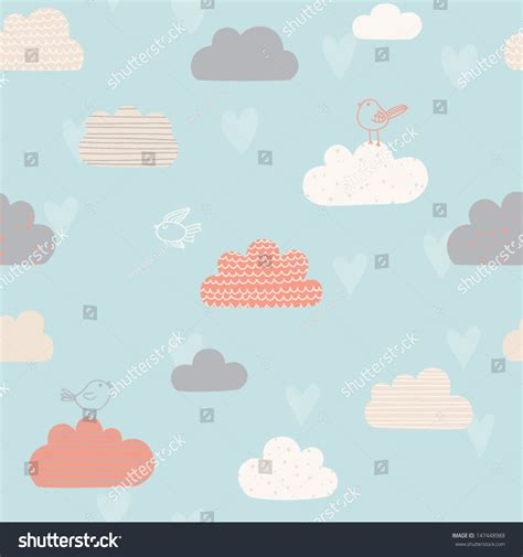 cute kid pattern cute seamless pattern clouds hearts birds stock vector