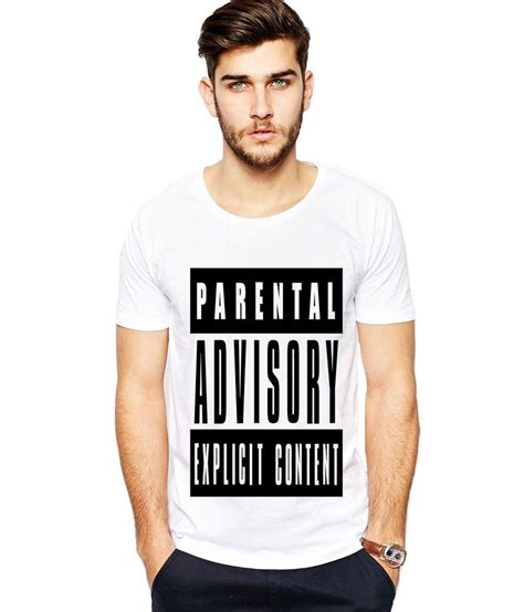 Tshirt White Parental Advisory ilyk parental advisory content white printed