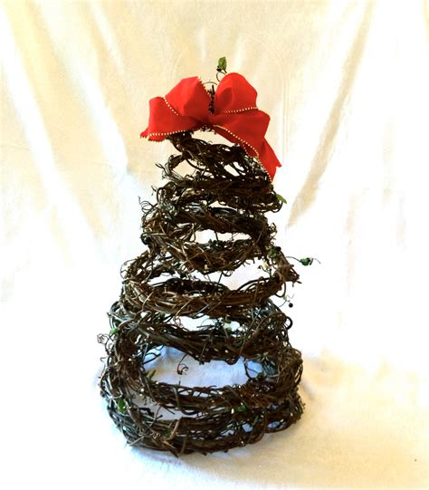 spiral shape christmas tree natural grape vine by todazeart