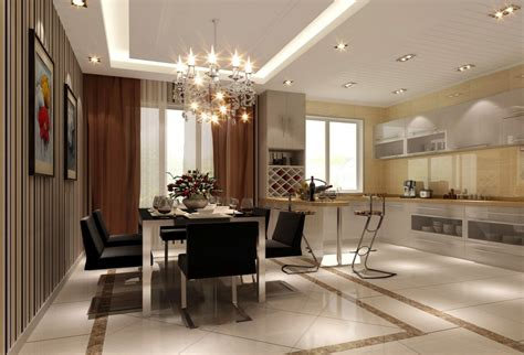 Kitchen And Dining Room Lighting 3d Rendering Of Ceiling Lights 3d House